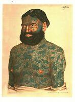 Cabinet de curiosité planche affiche A3 portrait d'homme tatoué tatouage