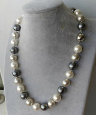 14mm weiß grau & schwarz mehrfarbig Schale Perle Halskette 50cm