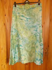PER UNA M&S ivory off-white lime green tie-dye lace maxi long riding skirt 16 44