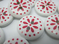 "10 White Red Flower Buttons 15mm (5/8"") Floral Christmas Sewing Buttons Crafts"