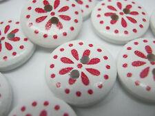 """10 Botones de Flor Blanco Rojo 15mm (5/8"""") Botones de Costura De Navidad Artesanía Floral"""