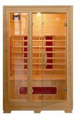 Sauna Infrarossi 120x100 cm con ante a vetro base in legno hemlock disp 2 posti