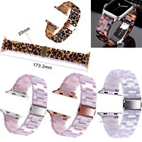 Leopard Tortoise Resin Watch Band Strap Bracelet For Apple Watches 38 40 42 44mm