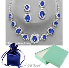 Royal Sapphire Blue Crystal Necklace Set Elegant Prom Pageant Wedding Jewelry