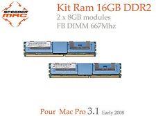  Kit Mémoire 16 GB (2x 8GB) DDR2  667MHz FBDIMM pour Mac Pro 2008, MP 3.1