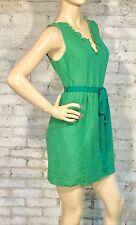 Tracy Reese Frock! Dress 4 (S) Green Sleeveless  V Neck Tie Waist