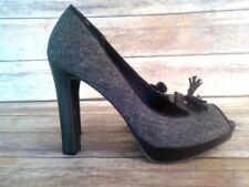CHRISTIAN SIRIANO Black Tweed Platform Peep Toe Heels Pumps Women's Size 11 M