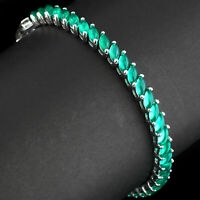 100% NATURAL 5X3MM GREEN CHALCEDONY SOLID STERLING SILVER 925 BRACELET 7.5 INCH