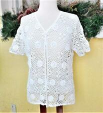 Womens M Crochet 1 Button Cardigan Sweater White Circles SS Cotton Boho Festival