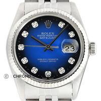 Mens Rolex Datejust 18K White Gold & Steel Blue Vignette Diamond Dial Watch
