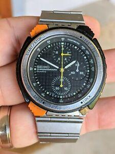 Vintage '82 Seiko 7A28-7050 JDM Quartz Driver's Chrono Watch, Giugiaro, 4 Repair