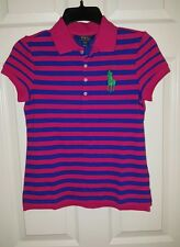 Polo Ralph Lauren Shirt/Top YouthL 12-14  Big Pony Blue Pink NWT Girl's $50