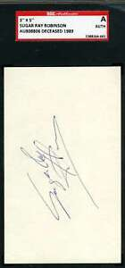 Sugar Ray Robinson Sgc Coa Autographed 3x5 Index Card Authentic Signed