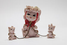 Vintage Napco ceramic pink Mama cat and kittens on chains figurines Japan 1950s
