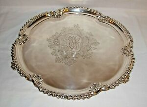 Antique British Sterling Silver Footed Salver 1896 Maxfield & Sons London