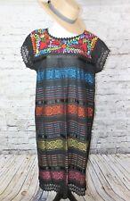 Oaxaca Mexican Tunic Dress Huipil 100% Cotton Back Strap Loom Telar Large