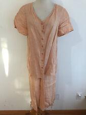 FLAX Linen Casual Pant Suit Button Front Blouse & Capri Pants Apricot/Peach Sz P