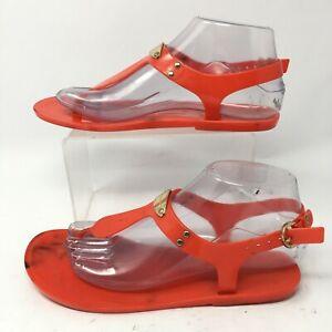 Michael Kors Women 6.5 MK Gold Plate Jelly T Strap Thong Slingback Sandal Orange