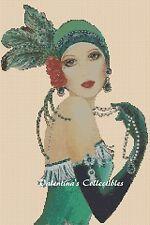 Cross Stitch Chart ART DECO LADY IN GREEN DRESS -  No. 1-110 (Large Print)