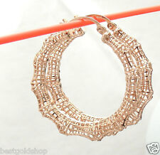 "1.50"" Technibond Bamboo Filigree Hoop Earrings 14K Rose Pink Gold Clad Silver"