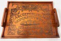 "16"" Vintage KALMAR Teak Wood CUSTOM Cut Spirt Spell Ouija Board Skull Grave Tray"