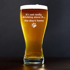 Beer Glass Pilsner Stein Mug 15oz It's Not Drinking Alone If The Dog Is Home
