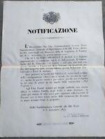 1847 BANDO SU PIROSCAFO POSTALE 'IL GIGLIO' PER PORTO SANTO STEFANO PORTOFERRAIO