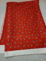 """Vtg Retro Qiana Red Small Floral Print Knit Sewing Fabric 2 1/4 Yds 60"""" W"""