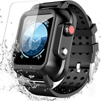 For Apple Watch Series 3 38/42mm Series 4 5 6 44mm Waterproof Case+3X Band Strap