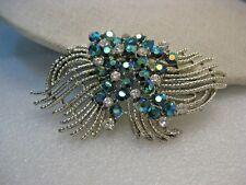 "Vintage Peacock A.B. Rhinestone Brooch, Swag, 3"", 1960's"