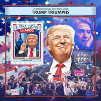 Sierra Leone Donald Trump Stamps 2016 MNH Triumphs US Elections Clinton 1v S/S
