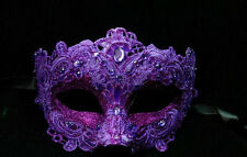Womens Costume Lace Mardi Gras Masquerade Mask Embellished with Gems [Purple]