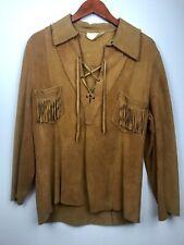 Vintage 70s 60s Buckskin Deerskin Leather Jacket Shirt Tunic 44 Fringe lace up