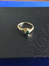 14k Yellow Gold Emerald And Diamond Ring Size 6