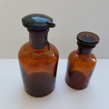 Set of 2 Rare Vtg Brown Glass Apothecary Medical Jars/Bottles 50 & 100 ml