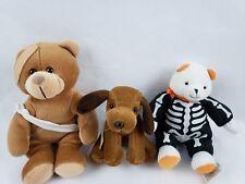 Hallmark Halloween Bear Injured Teddy Bear & Humane Society Dog Lot of 3 Plush
