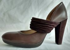 Womens Ladies Unisa Brown Real Leather Suede Mary Jane Shoes Size 4/37 Used