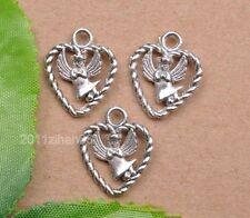wholesale 10pcs tibetan silver heart angel Charms Pendant Findings 19x16mm