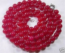 """fashion 8mm Natural Red Jade Round Beads Necklace 36"""" AAA"""
