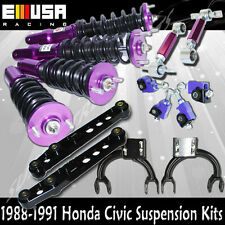 88 89 90 91 Honda Civic Coilover +F&R Camber+Front Upper Arm+Lower Control Arm