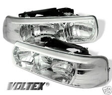1999-2002 CHEVY SILVERADO 1500 2500 3500 CRYSTAL HEADLIGHTS LAMP LIGHTBAR CHROME