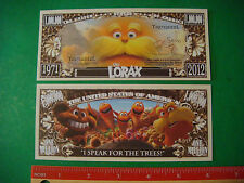The LORAX ~ Dr Seuss Environmental Trees: USA $1,000,000 One Million Dollar Bill