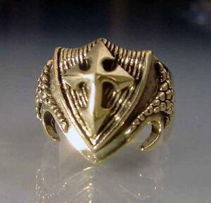 Bronze Dragon Shield Ring Custom Size Medieval Talisman Coat of Arms r_24b