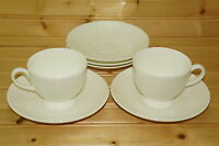 """Wedgwood White by Wedgwood (2) Leigh Shape Footed Cups 2 5/8"""" & (5) Saucers 6"""""""