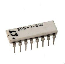 Rete resistenza 8x 100ω Ohm, dip16, 2%, 0,25 Watt, RM 2,54, 898-3-r100, 1st.