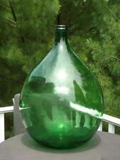 "Huge Demijohn Green Glass Wine Jar Wicker Collar 24"" Tall 16"" Wide"