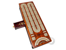 3 Track Continuous Cribbage Board Bloodwood/Maple - Sliding Lid & Drawer Storage