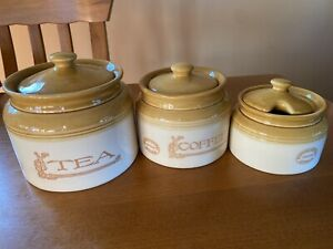 BENDIGO POTTERY HERITAGE TEA/COFFEE/SUGAR CANISTER SET OZ SELLER
