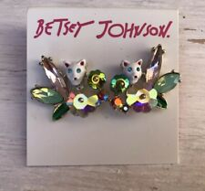 Cluster Rhinestones Stud Earrings Nwt Betsey Johnson Colorful Stone Hidden Cat