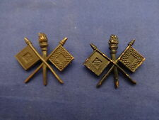 PAIR US ARMY SIGNAL CORPS  BLACK METAL COLLAR OFFICER INSIGNIA SERVICE COAT WWI